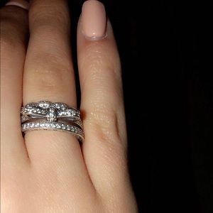 Very Lightly Worn Pandora SS and CZ Rings and Box